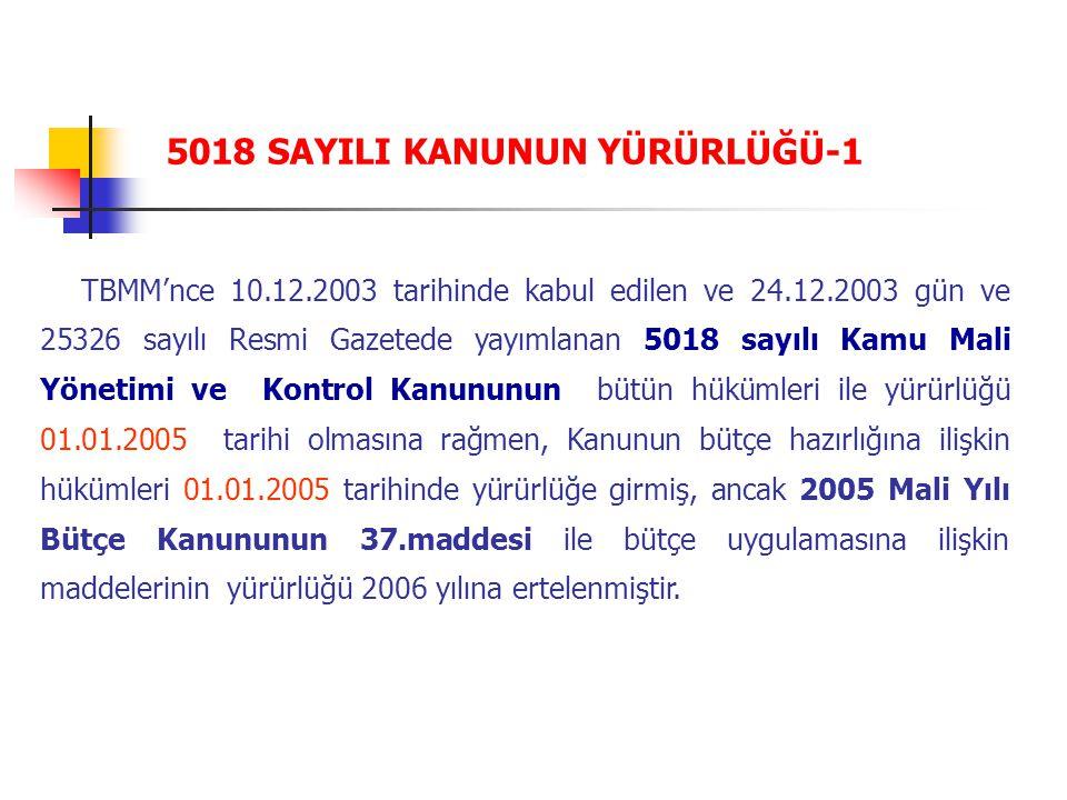 TBMM'nce 10.12.2003 tarihinde kabul edilen ve 24.12.2003 gün ve 25326 sayılı Resmi Gazetede yayımlanan 5018 sayılı Kamu Mali Yönetimi ve Kontrol Kanun