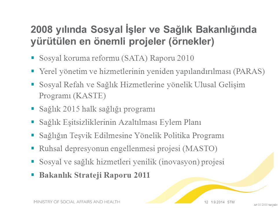 12 1.9.2014 STM A4 05/2005/tao/paht 2008 yılında Sosyal İşler ve Sağlık Bakanlığında yürütülen en önemli projeler (örnekler)  Sosyal koruma reformu (