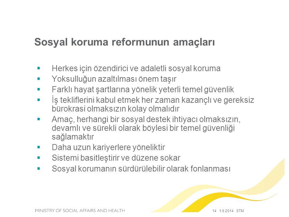 14 1.9.2014 STM Sosyal koruma reformunun amaçları  Herkes için özendirici ve adaletli sosyal koruma  Yoksulluğun azaltılması önem taşır  Farklı hay