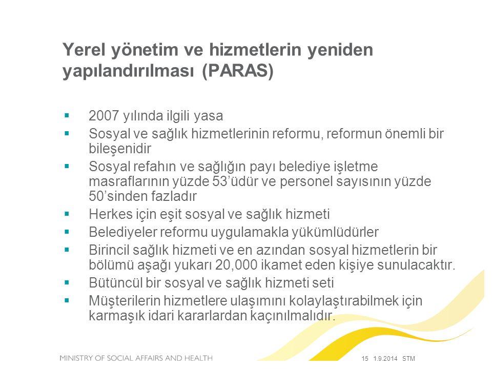 15 1.9.2014 STM  2007 yılında ilgili yasa  Sosyal ve sağlık hizmetlerinin reformu, reformun önemli bir bileşenidir  Sosyal refahın ve sağlığın payı