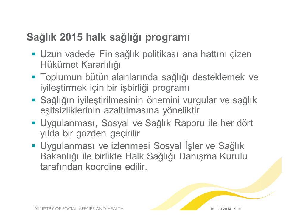 18 1.9.2014 STM Sağlık 2015 halk sağlığı programı  Uzun vadede Fin sağlık politikası ana hattını çizen Hükümet Kararlılığı  Toplumun bütün alanların