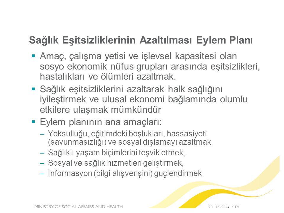 20 1.9.2014 STM Sağlık Eşitsizliklerinin Azaltılması Eylem Planı  Amaç, çalışma yetisi ve işlevsel kapasitesi olan sosyo ekonomik nüfus grupları aras