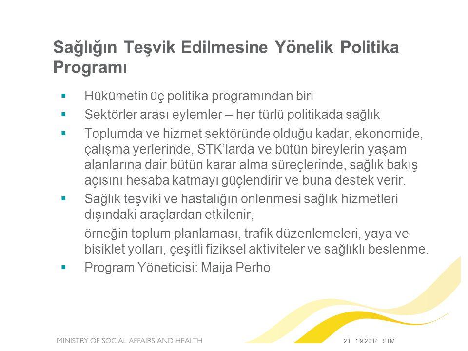 21 1.9.2014 STM  Hükümetin üç politika programından biri  Sektörler arası eylemler – her türlü politikada sağlık  Toplumda ve hizmet sektöründe old