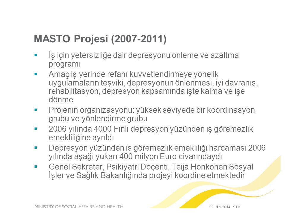 23 1.9.2014 STM MASTO Projesi (2007-2011)  İş için yetersizliğe dair depresyonu önleme ve azaltma programı  Amaç iş yerinde refahı kuvvetlendirmeye