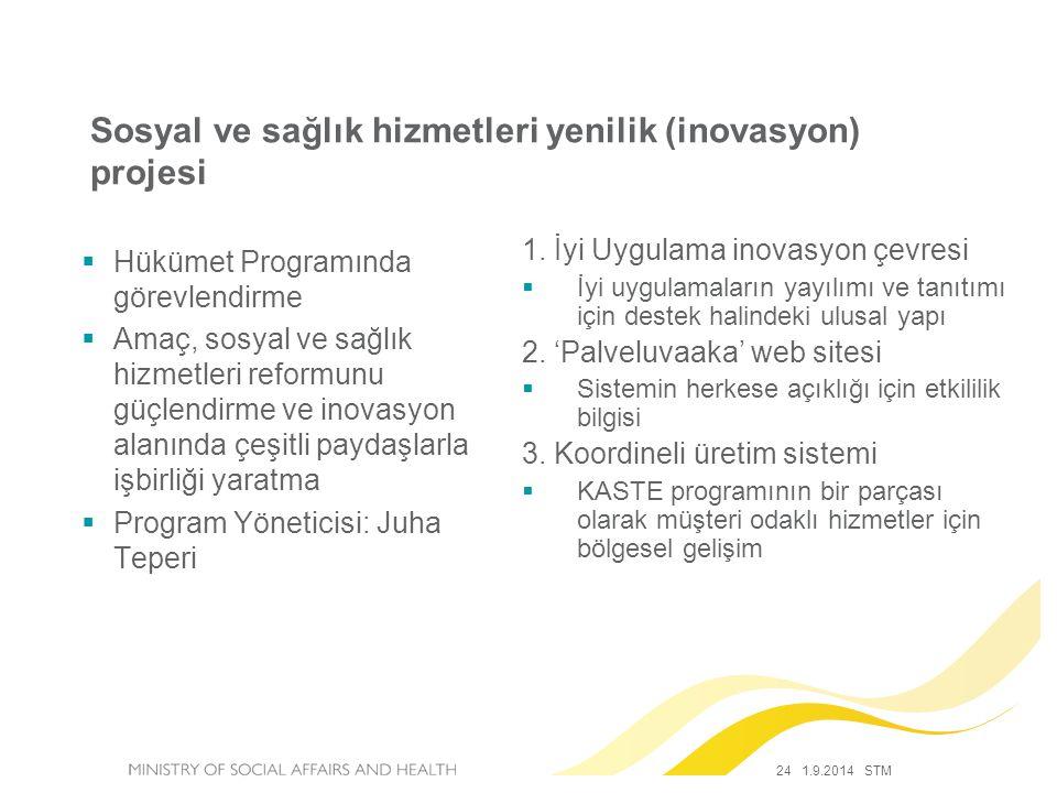 24 1.9.2014 STM Sosyal ve sağlık hizmetleri yenilik (inovasyon) projesi  Hükümet Programında görevlendirme  Amaç, sosyal ve sağlık hizmetleri reform