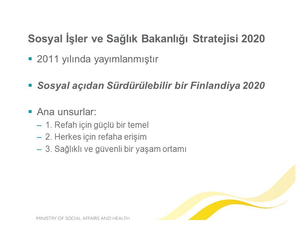 Sosyal İşler ve Sağlık Bakanlığı Stratejisi 2020  2011 yılında yayımlanmıştır  Sosyal açıdan Sürdürülebilir bir Finlandiya 2020  Ana unsurlar: –1.