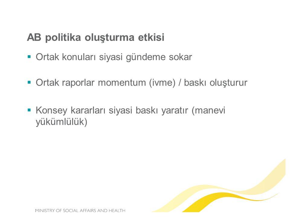  Ortak konuları siyasi gündeme sokar  Ortak raporlar momentum (ivme) / baskı oluşturur  Konsey kararları siyasi baskı yaratır (manevi yükümlülük) A