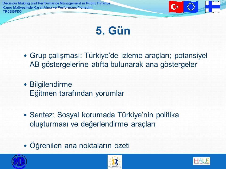 Decision Making and Performance Management in Public Finance Kamu Maliyesinde Karar Alma ve Performans Yönetimi TR08IBFI03 Grup çalışması: Türkiye'de izleme araçları; potansiyel AB göstergelerine atıfta bulunarak ana göstergeler Bilgilendirme Eğitmen tarafından yorumlar Sentez: Sosyal korumada Türkiye'nin politika oluşturması ve değerlendirme araçları Öğrenilen ana noktaların özeti 5.