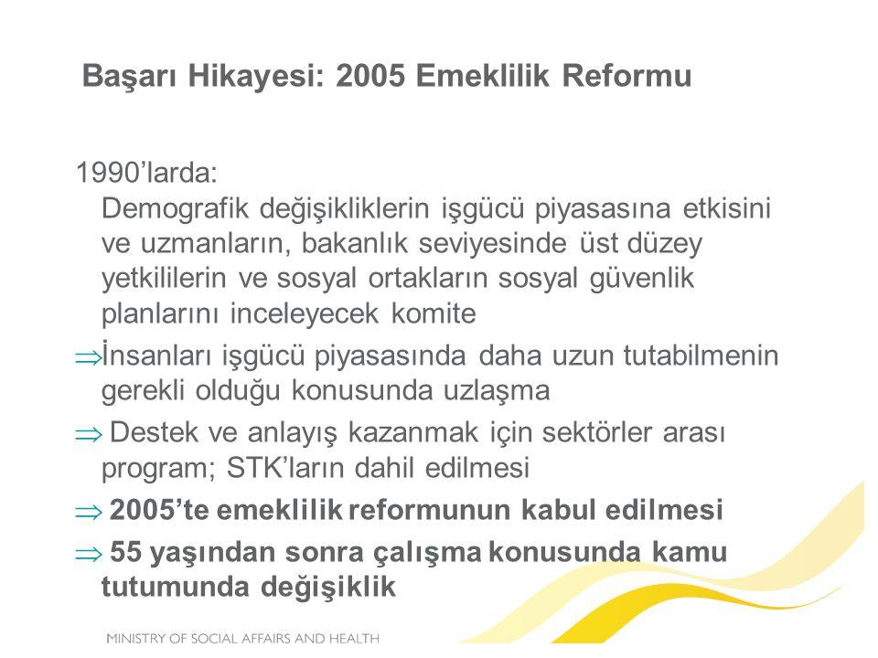 Başarı Hikayesi: 2005 Emeklilik Reformu 1990'larda: Demografik değişikliklerin işgücü piyasasına etkisini ve uzmanların, bakanlık seviyesinde üst düze