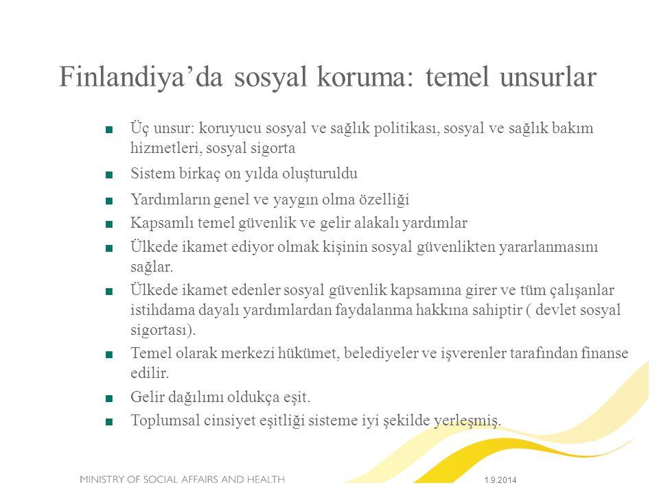 Finlandiya'da sosyal koruma: temel unsurlar  Üç unsur: koruyucu sosyal ve sağlık politikası, sosyal ve sağlık bakım hizmetleri, sosyal sigorta  Sist