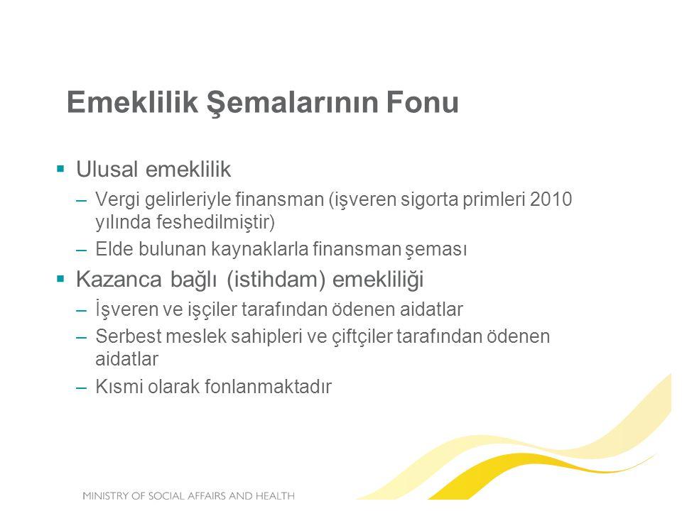 Emeklilik Şemalarının Fonu  Ulusal emeklilik –Vergi gelirleriyle finansman (işveren sigorta primleri 2010 yılında feshedilmiştir) –Elde bulunan kayna