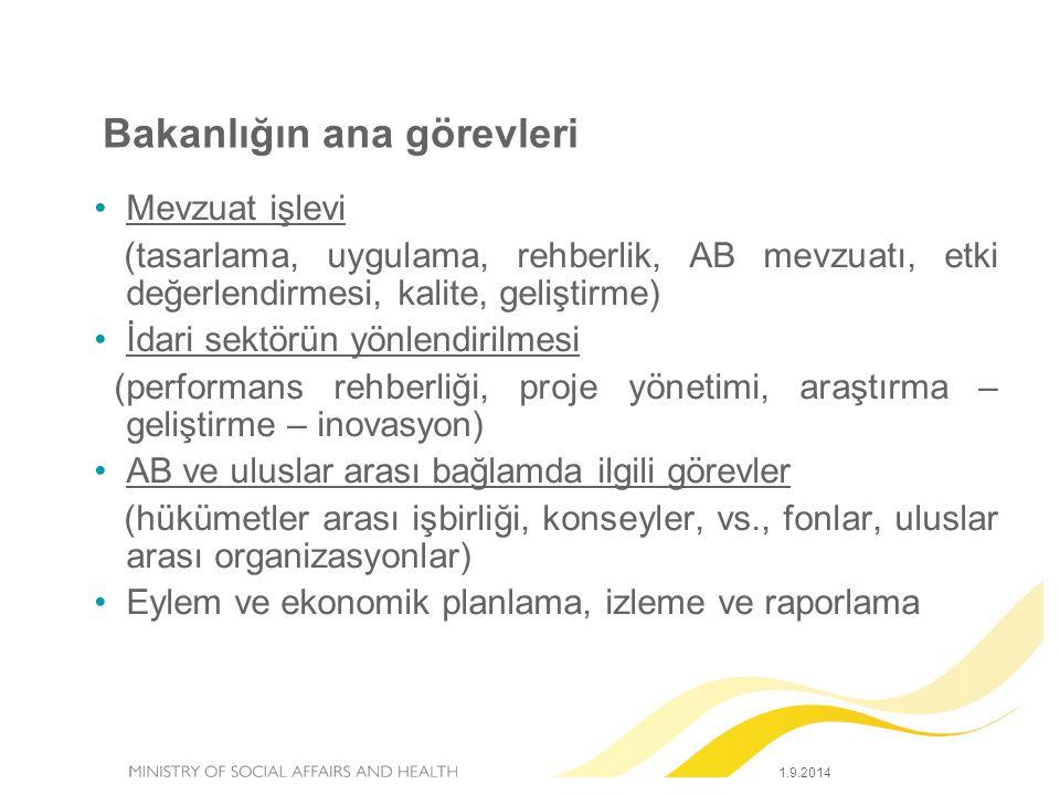 Bakanlığın ana görevleri Mevzuat işlevi (tasarlama, uygulama, rehberlik, AB mevzuatı, etki değerlendirmesi, kalite, geliştirme) İdari sektörün yönlendirilmesi (performans rehberliği, proje yönetimi, araştırma – geliştirme – inovasyon) AB ve uluslar arası bağlamda ilgili görevler (hükümetler arası işbirliği, konseyler, vs., fonlar, uluslar arası organizasyonlar) Eylem ve ekonomik planlama, izleme ve raporlama 1.9.2014
