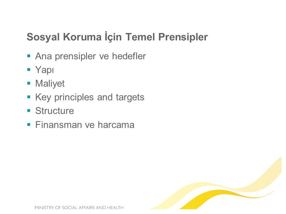 Sosyal Koruma İçin Temel Prensipler  Ana prensipler ve hedefler  Yapı  Maliyet  Key principles and targets  Structure  Finansman ve harcama