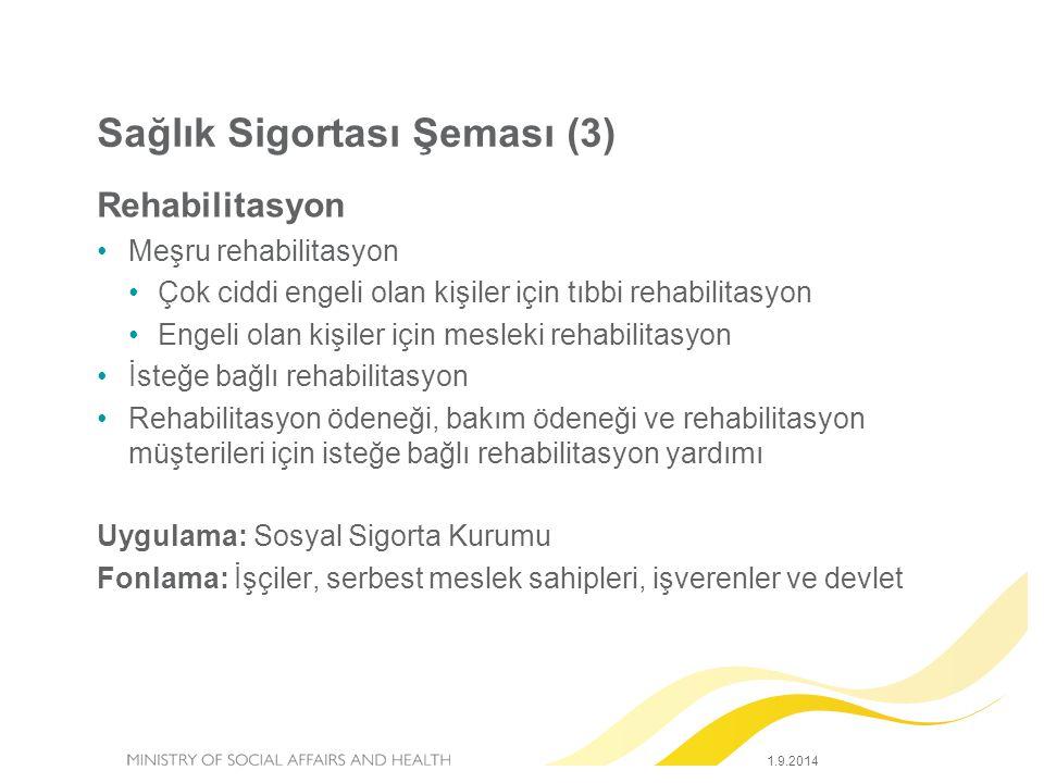 1.9.2014 Sağlık Sigortası Şeması (3) Rehabilitasyon Meşru rehabilitasyon Çok ciddi engeli olan kişiler için tıbbi rehabilitasyon Engeli olan kişiler için mesleki rehabilitasyon İsteğe bağlı rehabilitasyon Rehabilitasyon ödeneği, bakım ödeneği ve rehabilitasyon müşterileri için isteğe bağlı rehabilitasyon yardımı Uygulama: Sosyal Sigorta Kurumu Fonlama: İşçiler, serbest meslek sahipleri, işverenler ve devlet