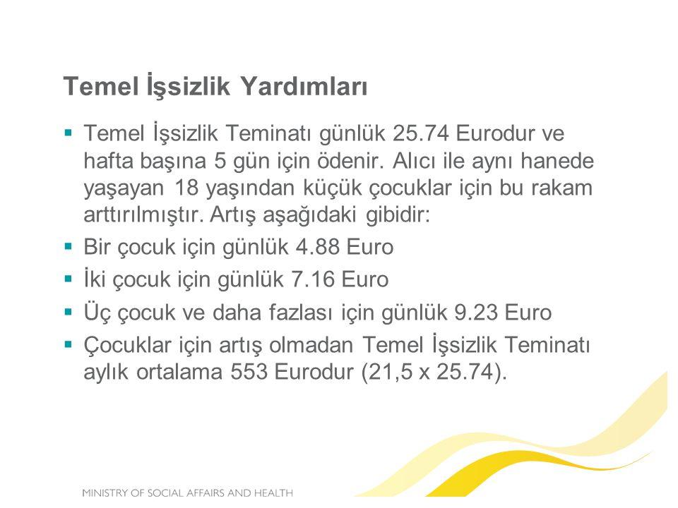 Temel İşsizlik Yardımları  Temel İşsizlik Teminatı günlük 25.74 Eurodur ve hafta başına 5 gün için ödenir.