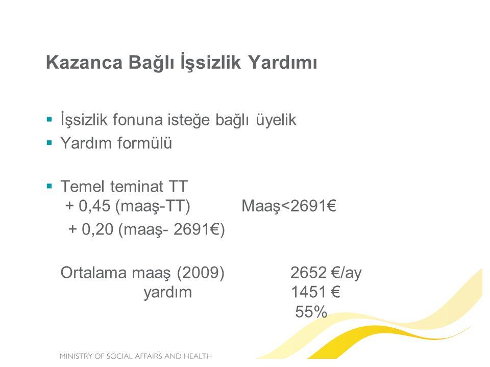  İşsizlik fonuna isteğe bağlı üyelik  Yardım formülü  Temel teminat TT + 0,45 (maaş-TT) Maaş<2691€ + 0,20 (maaş- 2691€) Ortalama maaş (2009) 2652 €