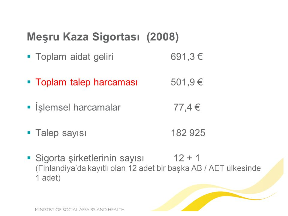Meşru Kaza Sigortası (2008)  Toplam aidat geliri691,3 €  Toplam talep harcaması501,9 €  İşlemsel harcamalar 77,4 €  Talep sayısı182 925  Sigorta şirketlerinin sayısı 12 + 1 (Finlandiya'da kayıtlı olan 12 adet bir başka AB / AET ülkesinde 1 adet)
