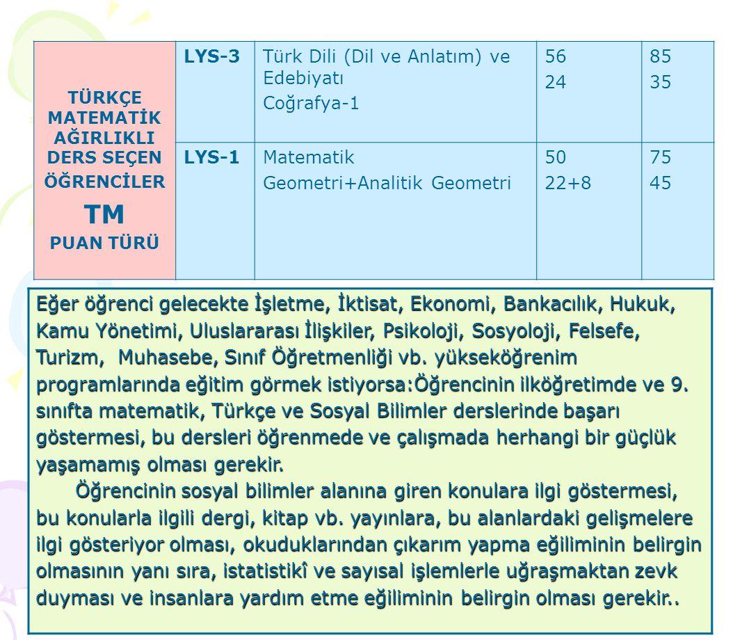 TÜRKÇE MATEMATİK AĞIRLIKLI DERS SEÇEN ÖĞRENCİLER TM PUAN TÜRÜ LYS-3Türk Dili (Dil ve Anlatım) ve Edebiyatı Coğrafya-1 56 24 85 35 LYS-1Matematik Geometri+Analitik Geometri 50 22+8 75 45 Eğer öğrenci gelecekte İşletme, İktisat, Ekonomi, Bankacılık, Hukuk, Kamu Yönetimi, Uluslararası İlişkiler, Psikoloji, Sosyoloji, Felsefe, Turizm, Muhasebe, Sınıf Öğretmenliği vb.