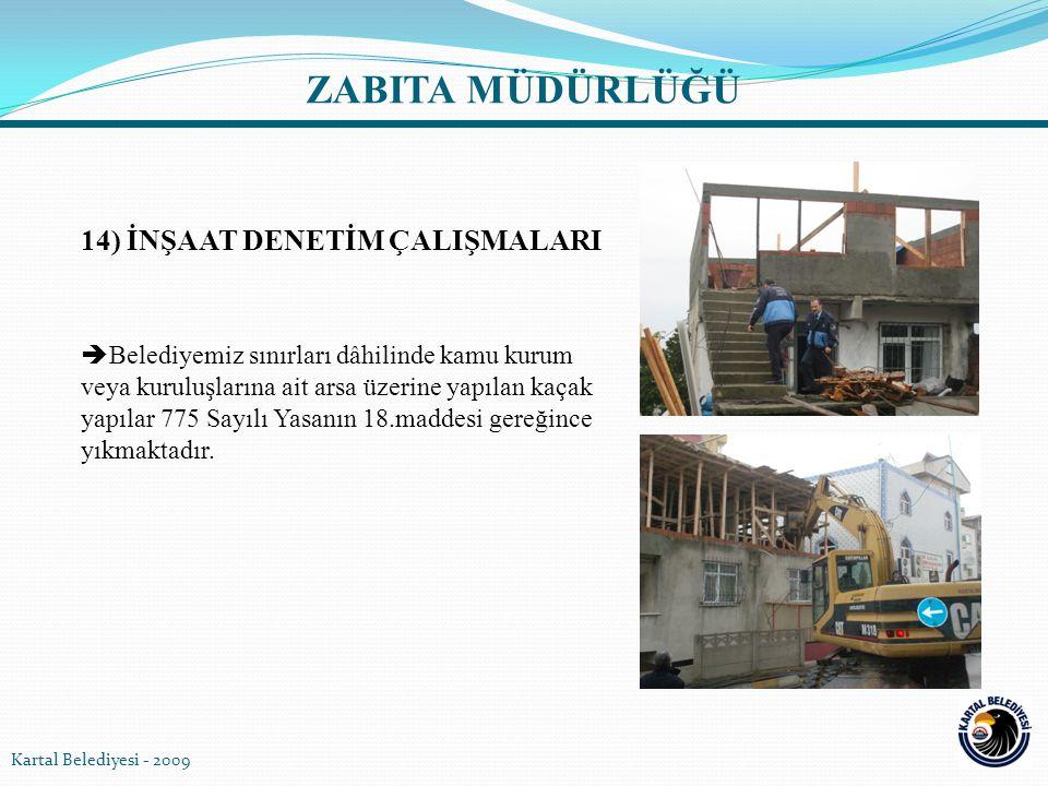 14) İNŞAAT DENETİM ÇALIŞMALARI  Belediyemiz sınırları dâhilinde kamu kurum veya kuruluşlarına ait arsa üzerine yapılan kaçak yapılar 775 Sayılı Yasan