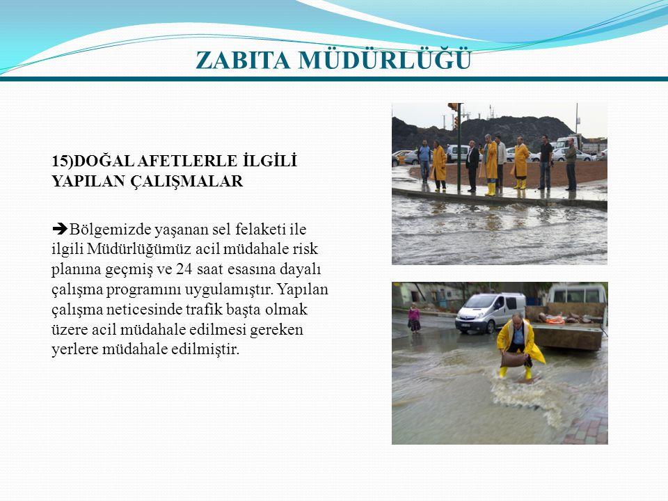 15)DOĞAL AFETLERLE İLGİLİ YAPILAN ÇALIŞMALAR  Bölgemizde yaşanan sel felaketi ile ilgili Müdürlüğümüz acil müdahale risk planına geçmiş ve 24 saat es