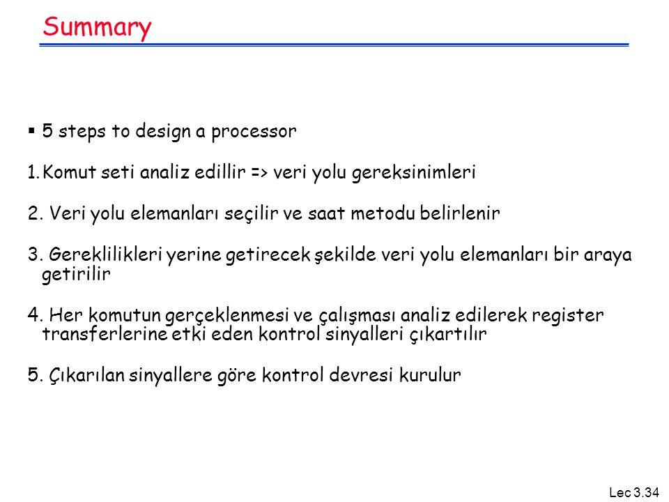 Lec 3.34 Summary  5 steps to design a processor 1.Komut seti analiz edillir => veri yolu gereksinimleri 2. Veri yolu elemanları seçilir ve saat metod
