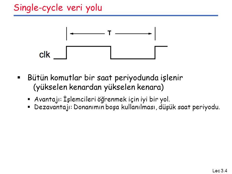 Lec 3.35 Summary  MIPS in sağladığı kolaylıklar Tüm komutlar aynı boyuttadır Kaynak registerları hep aynı yerde bulunur Sabit değerler hep aynı boyutta ve aynı yerde bulunur Operasyonlar her zaman register lar ve sabitler üzerinden yapılır  Single cycle datapath => CPI=1, CCT => uzun  Sonraki sunum : Control devresinin gerçeklenmesi