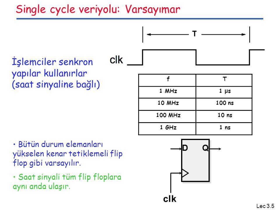 Lec 3.5 Single cycle veriyolu: Varsayımar İşlemciler senkron yapılar kullanırlar (saat sinyaline bağlı) fT 1 MHz 1 μ s 10 MHz100 ns 100 MHz10 ns 1 GHz1 ns Bütün durum elemanları yükselen kenar tetiklemeli flip flop gibi varsayılır.