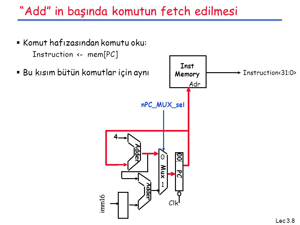 Lec 3.19 Kontrol sinyallerinin özeti inst Register Transfer ADDR[rd] <– R[rs] + R[rt];PC <– PC + 4 ALUsrc = RegB, ALUctr = add , RegDst = rd, RegWr, nPC_sel = +4 SUBR[rd] <– R[rs] – R[rt];PC <– PC + 4 ALUsrc = RegB, ALUctr = sub , RegDst = rd, RegWr, nPC_sel = +4 ORiR[rt] <– R[rs] + zero_ext(Imm16); PC <– PC + 4 ALUsrc = Im, Extop = Z , ALUctr = or , RegDst = rt, RegWr, nPC_sel = +4 LOADR[rt] <– MEM[ R[rs] + sign_ext(Imm16)];PC <– PC + 4 ALUsrc = Im, Extop = Sn , ALUctr = add , MemtoReg, RegDst = rt, RegWr, nPC_sel = +4 STOREMEM[ R[rs] + sign_ext(Imm16)] <– R[rt];PC <– PC + 4 ALUsrc = Im, Extop = Sn , ALUctr = add , MemWr, nPC_sel = +4 BEQif ( R[rs] == R[rt] ) then PC <– [PC + sign_ext(Imm16)] || 00 else PC <– PC + 4 nPC_sel = Br , ALUctr = sub