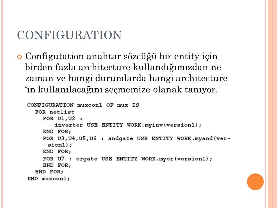 CONFIGURATION Configutation anahtar sözcüğü bir entity için birden fazla architecture kullandığımızdan ne zaman ve hangi durumlarda hangi architecture