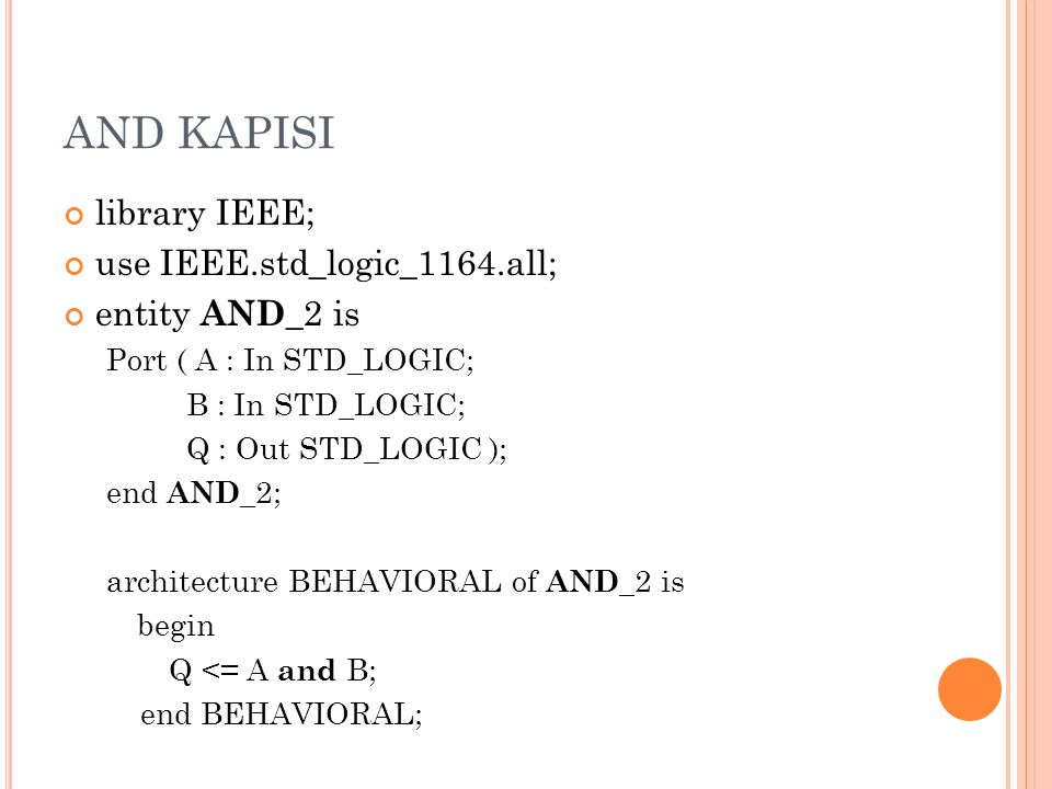 AND KAPISI library IEEE; use IEEE.std_logic_1164.all; entity AND _2 is Port ( A : In STD_LOGIC; B : In STD_LOGIC; Q : Out STD_LOGIC ); end AND _2; architecture BEHAVIORAL of AND _2 is begin Q <= A and B; end BEHAVIORAL;