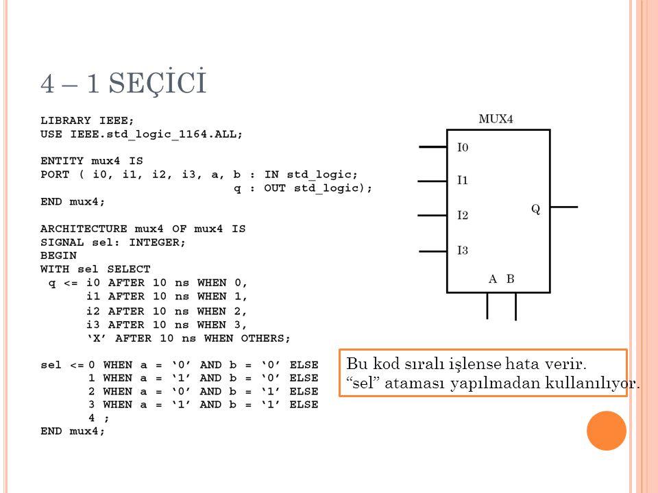 """4 – 1 SEÇİCİ Bu kod sıralı işlense hata verir. """"sel"""" ataması yapılmadan kullanılıyor."""