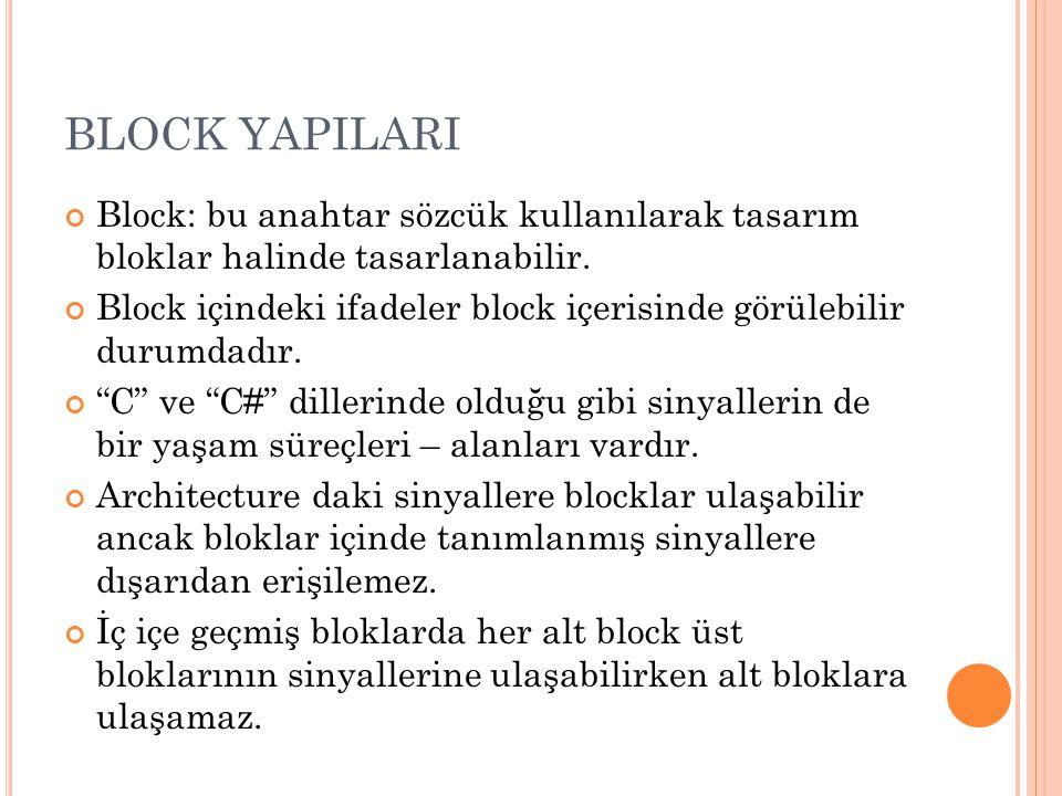 BLOCK YAPILARI Block: bu anahtar sözcük kullanılarak tasarım bloklar halinde tasarlanabilir. Block içindeki ifadeler block içerisinde görülebilir duru