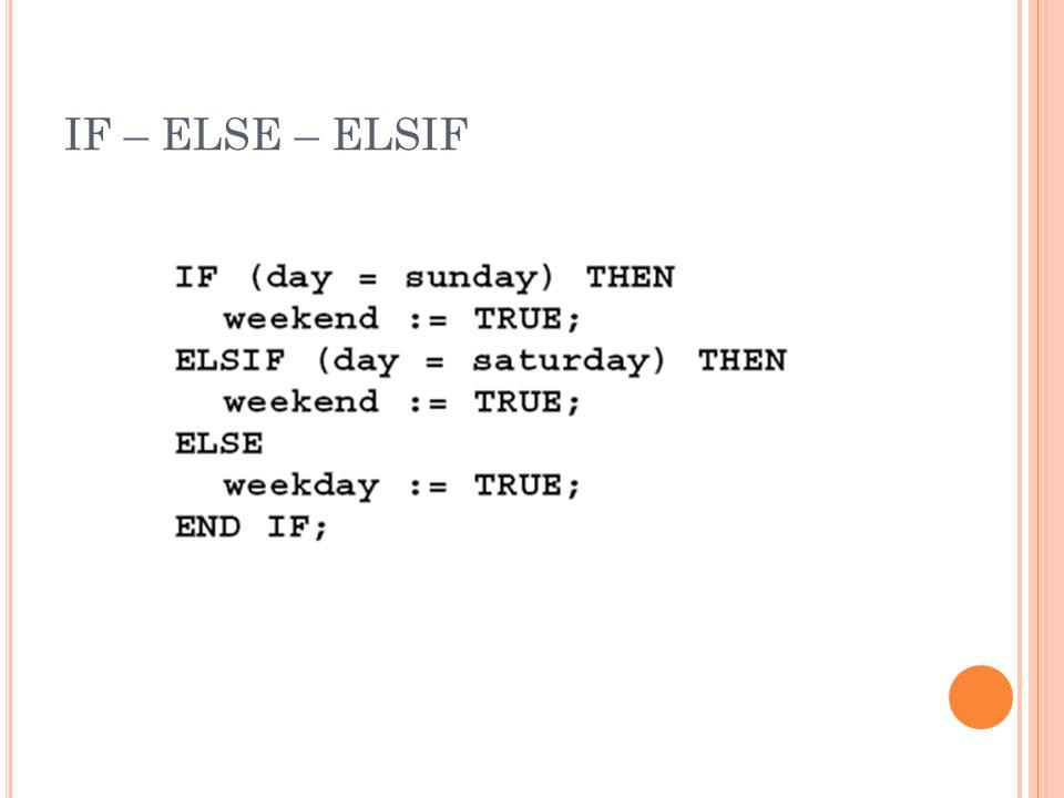 IF – ELSE – ELSIF