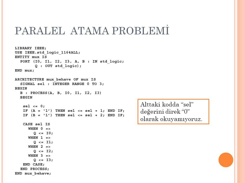 """PARALEL ATAMA PROBLEMİ Alttaki kodda """"sel"""" değerini direk """"0"""" olarak okuyamıyoruz."""