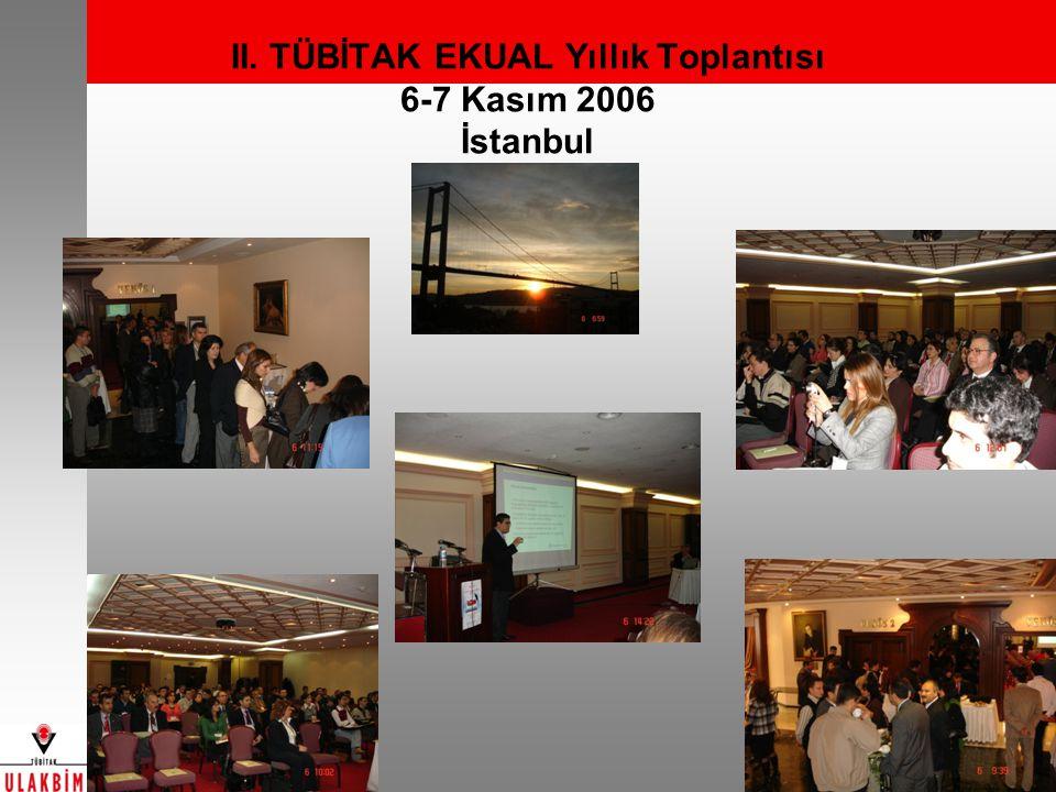 II. TÜBİTAK EKUAL Yıllık Toplantısı 6-7 Kasım 2006 İstanbul