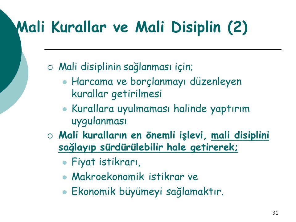 31 Mali Kurallar ve Mali Disiplin (2)  Mali disiplinin sağlanması için; Harcama ve borçlanmayı düzenleyen kurallar getirilmesi Kurallara uyulmaması h