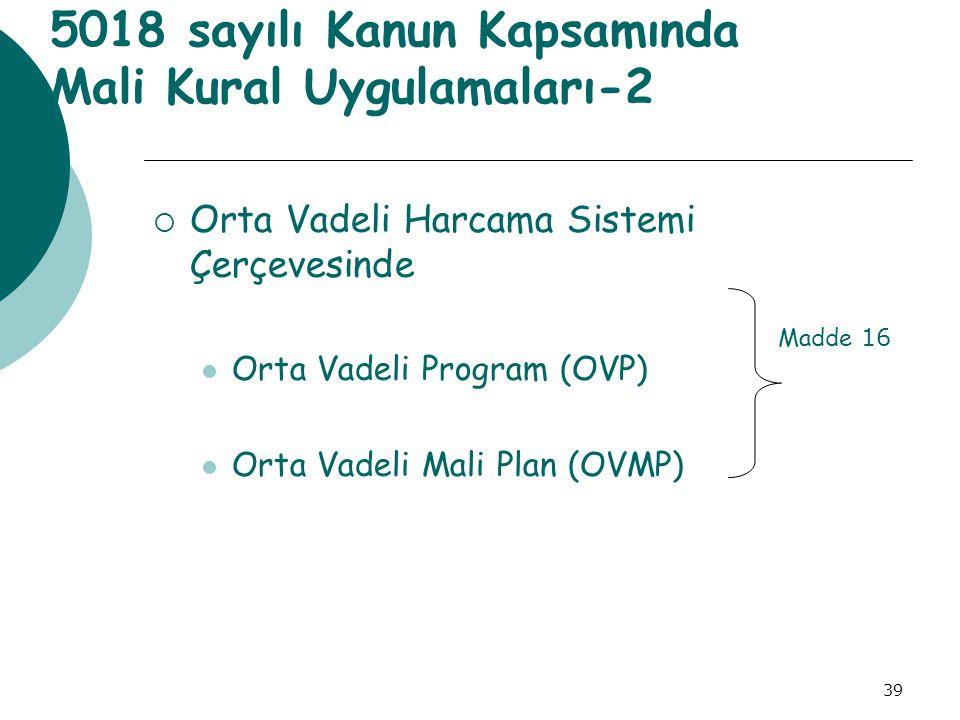 39 5018 sayılı Kanun Kapsamında Mali Kural Uygulamaları-2  Orta Vadeli Harcama Sistemi Çerçevesinde Orta Vadeli Program (OVP) Orta Vadeli Mali Plan (