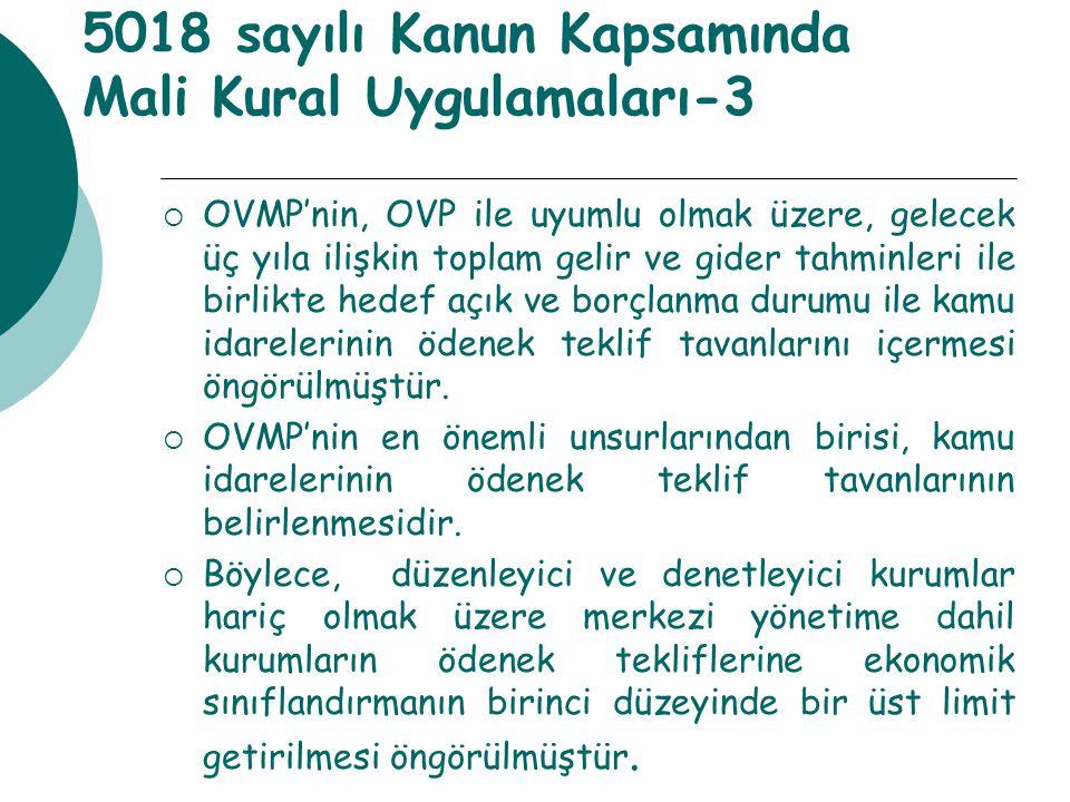 5018 sayılı Kanun Kapsamında Mali Kural Uygulamaları-3  OVMP'nin, OVP ile uyumlu olmak üzere, gelecek üç yıla ilişkin toplam gelir ve gider tahminler
