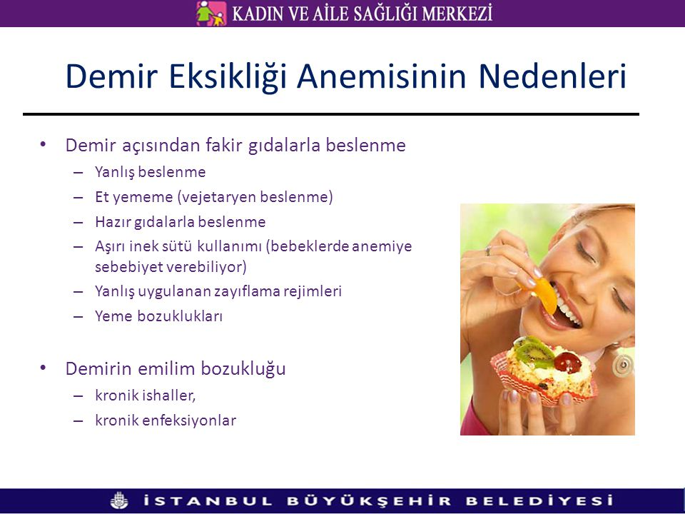 Demir açısından fakir gıdalarla beslenme – Yanlış beslenme – Et yememe (vejetaryen beslenme) – Hazır gıdalarla beslenme – Aşırı inek sütü kullanımı (b