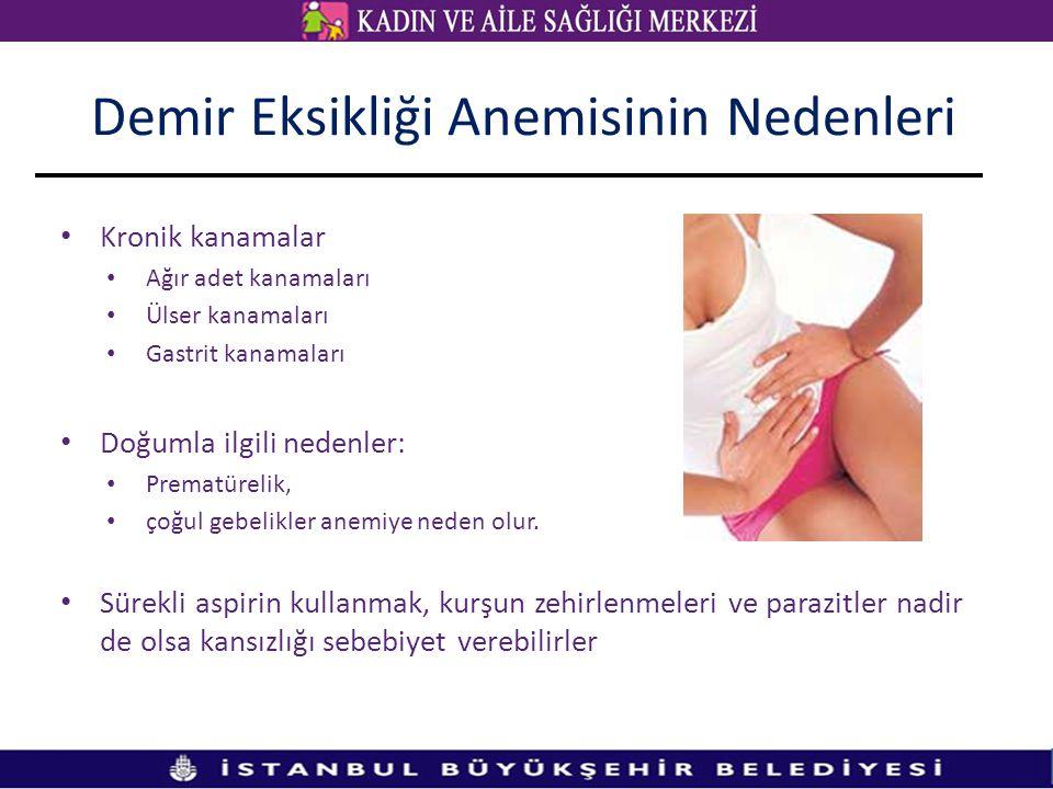 Kronik kanamalar Ağır adet kanamaları Ülser kanamaları Gastrit kanamaları Doğumla ilgili nedenler: Prematürelik, çoğul gebelikler anemiye neden olur.