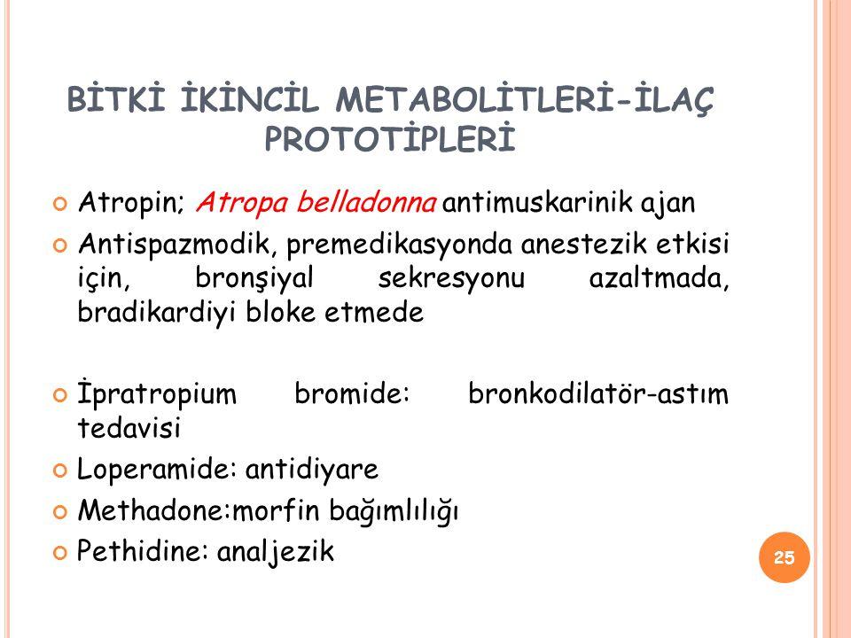 Atropin; Atropa belladonna antimuskarinik ajan Antispazmodik, premedikasyonda anestezik etkisi için, bronşiyal sekresyonu azaltmada, bradikardiyi bloke etmede İpratropium bromide: bronkodilatör-astım tedavisi Loperamide: antidiyare Methadone:morfin bağımlılığı Pethidine: analjezik 25 BİTKİ İKİNCİL METABOLİTLERİ-İLAÇ PROTOTİPLERİ