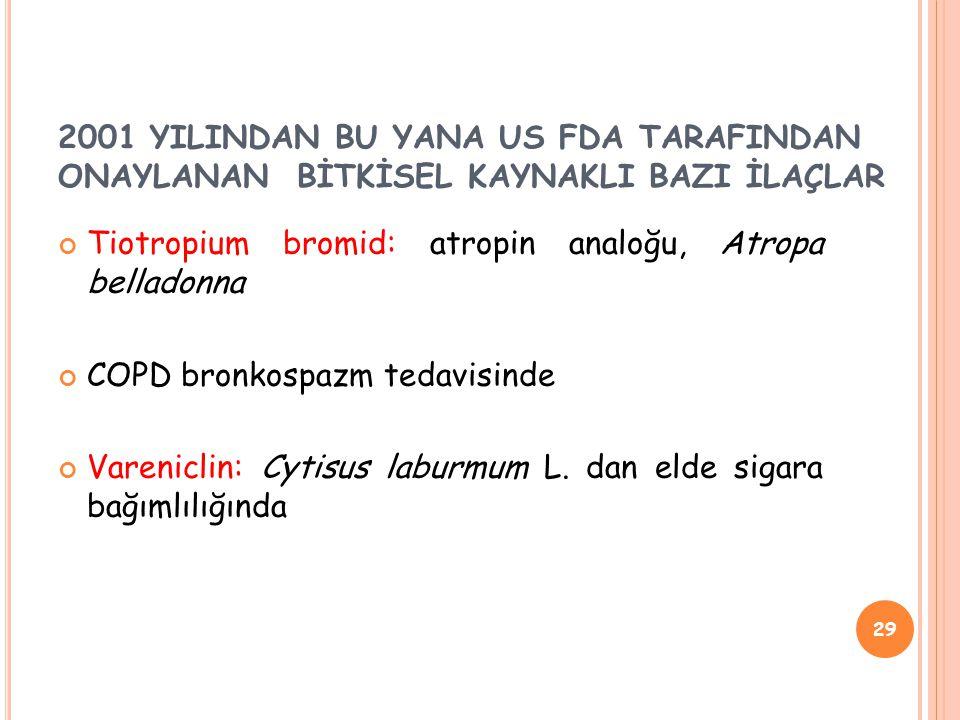 Tiotropium bromid: atropin analoğu, Atropa belladonna COPD bronkospazm tedavisinde Vareniclin: Cytisus laburmum L.