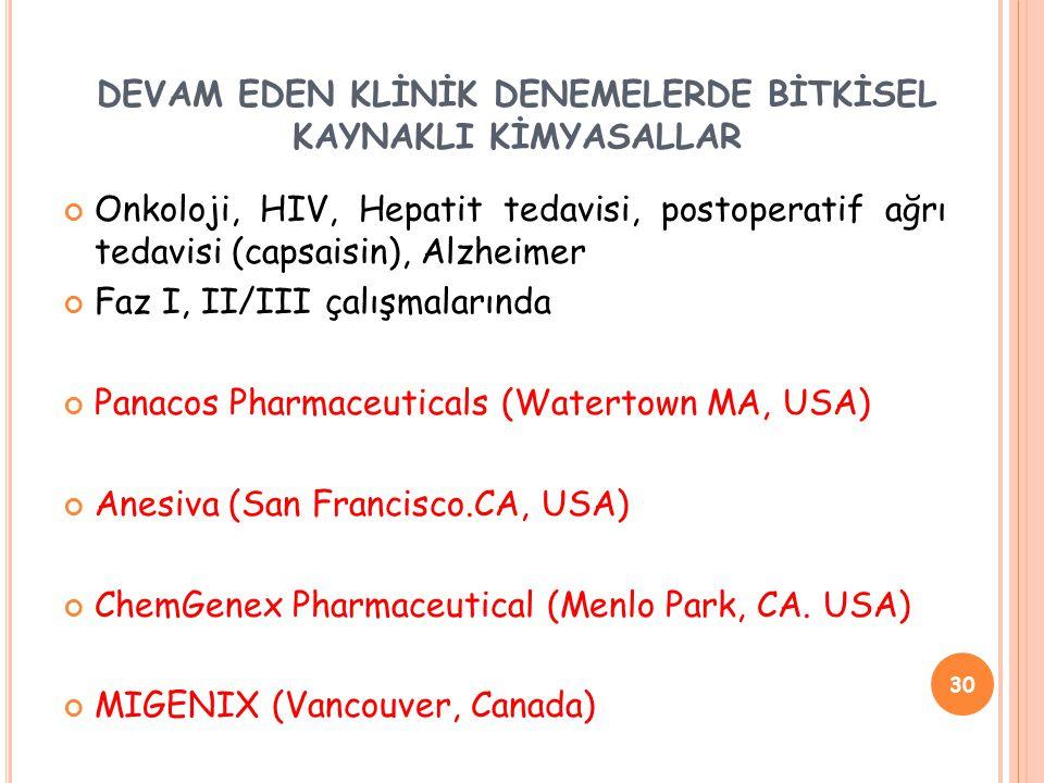 DEVAM EDEN KLİNİK DENEMELERDE BİTKİSEL KAYNAKLI KİMYASALLAR Onkoloji, HIV, Hepatit tedavisi, postoperatif ağrı tedavisi (capsaisin), Alzheimer Faz I, II/III çalışmalarında Panacos Pharmaceuticals (Watertown MA, USA) Anesiva (San Francisco.CA, USA) ChemGenex Pharmaceutical (Menlo Park, CA.
