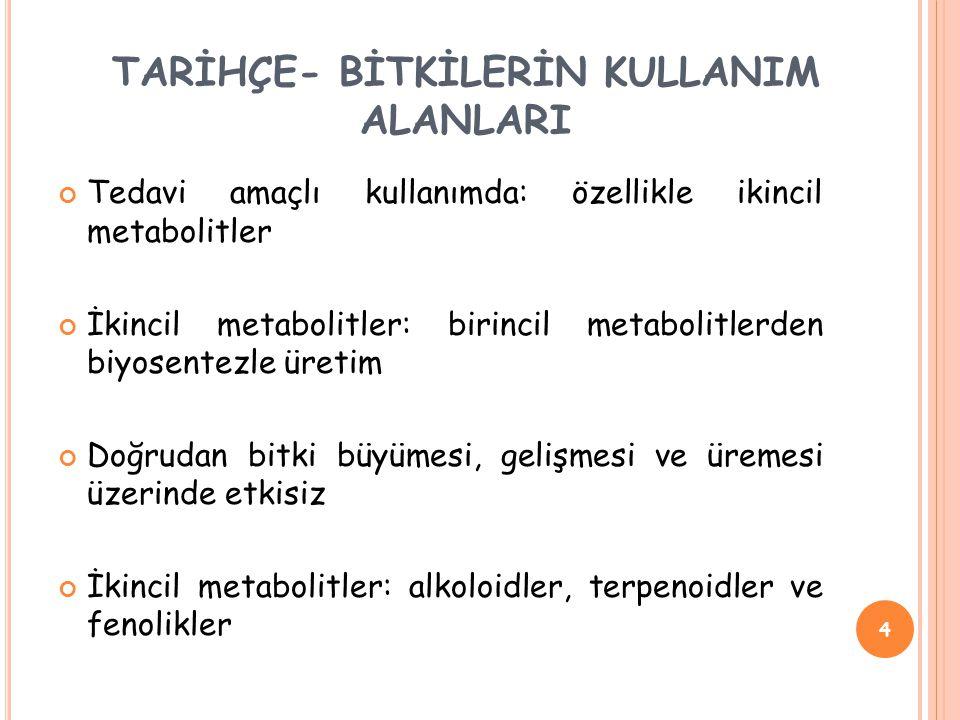 Tedavi amaçlı kullanımda: özellikle ikincil metabolitler İkincil metabolitler: birincil metabolitlerden biyosentezle üretim Doğrudan bitki büyümesi, gelişmesi ve üremesi üzerinde etkisiz İkincil metabolitler: alkoloidler, terpenoidler ve fenolikler 4 TARİHÇE- BİTKİLERİN KULLANIM ALANLARI