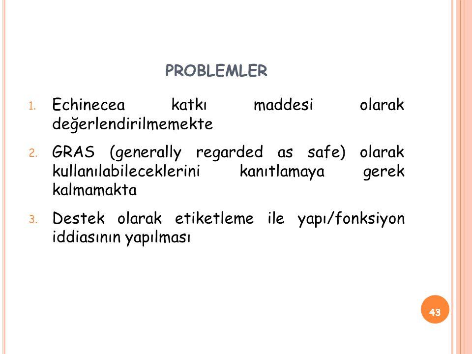 PROBLEMLER 1.Echinecea katkı maddesi olarak değerlendirilmemekte 2.