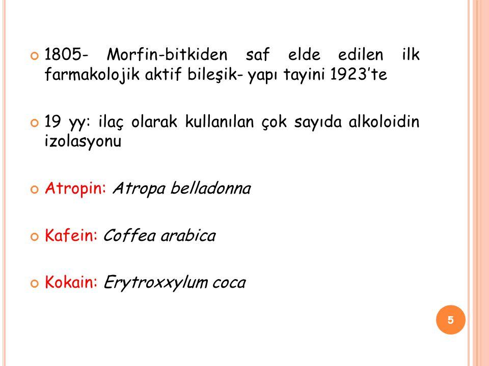 1805- Morfin-bitkiden saf elde edilen ilk farmakolojik aktif bileşik- yapı tayini 1923'te 19 yy: ilaç olarak kullanılan çok sayıda alkoloidin izolasyonu Atropin: Atropa belladonna Kafein: Coffea arabica Kokain: Erytroxxylum coca 5