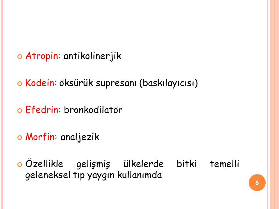 Atropin: antikolinerjik Kodein: öksürük supresanı (baskılayıcısı) Efedrin: bronkodilatör Morfin: analjezik Özellikle gelişmiş ülkelerde bitki temelli geleneksel tıp yaygın kullanımda 8