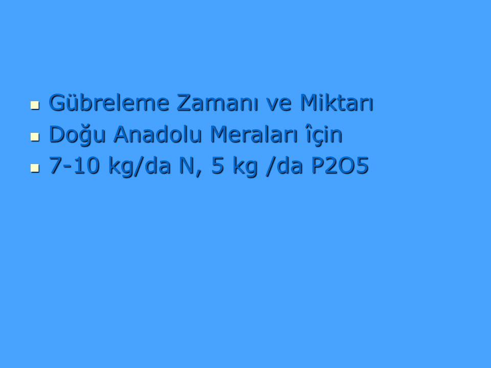 Gübreleme Zamanı ve Miktarı Gübreleme Zamanı ve Miktarı Doğu Anadolu Meraları îçin Doğu Anadolu Meraları îçin 7-10 kg/da N, 5 kg /da P2O5 7-10 kg/da N