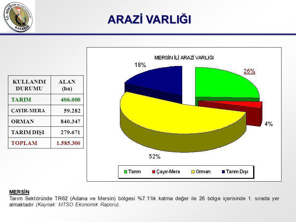 ARAZİ VARLIĞI KULLANIM DURUMU ALAN (ha)TARIM406.000 ÇAYIR-MERA 59.282 ORMAN840.347 TARIM DIŞI279.671 TOPLAM1.585.300 MERSİN Tarım Sektöründe TR62 (Adana ve Mersin) bölgesi %7.1'lik katma değer ile 26 bölge içerisinde 1.