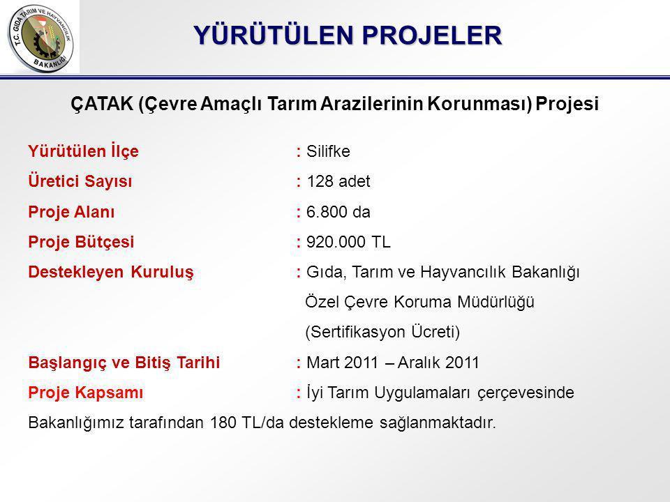 YÜRÜTÜLEN PROJELER ÇATAK (Çevre Amaçlı Tarım Arazilerinin Korunması) Projesi Yürütülen İlçe: Silifke Üretici Sayısı: 128 adet Proje Alanı: 6.800 da Proje Bütçesi: 920.000 TL Destekleyen Kuruluş: Gıda, Tarım ve Hayvancılık Bakanlığı Özel Çevre Koruma Müdürlüğü (Sertifikasyon Ücreti) Başlangıç ve Bitiş Tarihi: Mart 2011 – Aralık 2011 Proje Kapsamı: İyi Tarım Uygulamaları çerçevesinde Bakanlığımız tarafından 180 TL/da destekleme sağlanmaktadır.